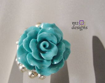 Turquoise Rose Adjustable Stretch Statement Ring, Unique Handmade Jewelry for Women, Trendy Birthday Anniversary Gift Ideas for Her