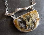 Necklace of Regency Plume Agate and Pussywillow Twig in Sterling Silver