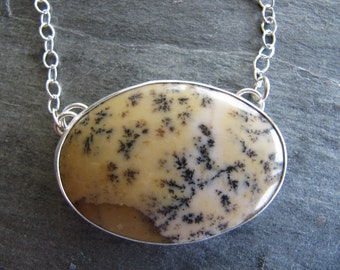 Dendritic Opal Necklace in Patterned Sterling Silver
