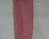 Red with White Gingham Design Handmade Fabric Grocery Plastic Bag Holder