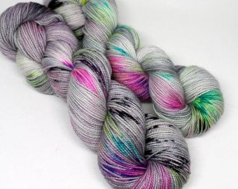 Hand Dyed Speckled Sock Yarn - SW Sock 80/20 - Superwash Merino Nylon - 400 yards - Ain't No Disco