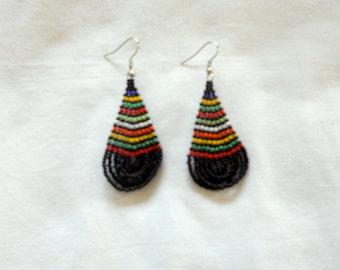 Oval drop Zulu earrings