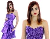 80s Purple Party Dress Metallic Formal Vintage Purple Lame' Tiered Gathered Ruffle Prom Cocktail Sweetheart Bodice 7/8 S Small Medium M