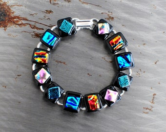 Multi-Colored Wear Me With Anything Dichroic Glass Bracelet