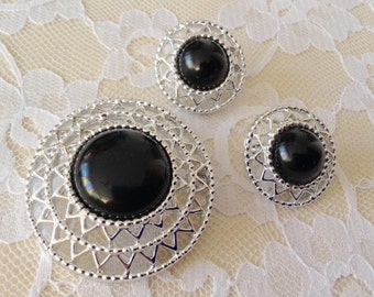 Vintage Midcentury Sarah Coventry Jet Set Pin Brooch & Matching Earrings Set 1970's