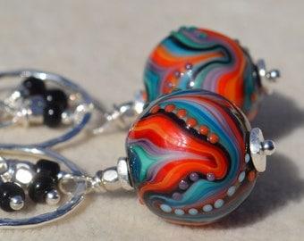 ART DECO-Handmade Lampwork and Sterling Silver Earrings