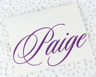 Purple Personalized Stationery Custom Purple on Cream Stationery with Name by Lime Green Rhinestones