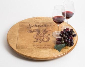 Large Schrader Wine Crate Lazy Susan