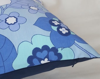 Cushion cover in a bright blue and white vintage fabric