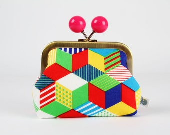 Metal frame coin purse with color bobble - Little cubes in primary - Color dad / Japanese fabric / Red blue green yellow turquoise pink