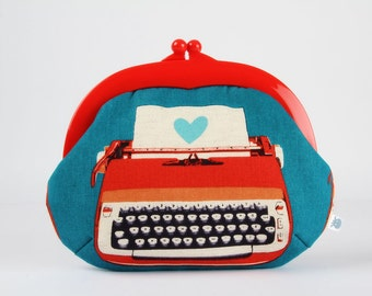Plastic frame purse - Typewriter in red and blue  - Gamaguchi large / Bright red kisslock purse / Melody Miller / Vintage typewriter / heart