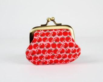 Metal frame coin purse - Chibi apples on pink - Baby purse / japanese fabric / cute kawaii / emerald green pink red / school teacher