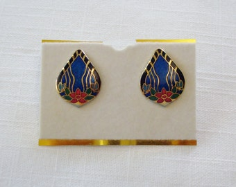Gorgeous Cloisonne Tear Drop Shape Post Pierced Earrings