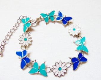 Silver Tone Enamel Butterfly & Floral Handmade Bracelet