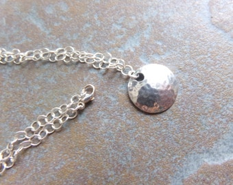 Hammered Sterling Silver Disc on a Chain