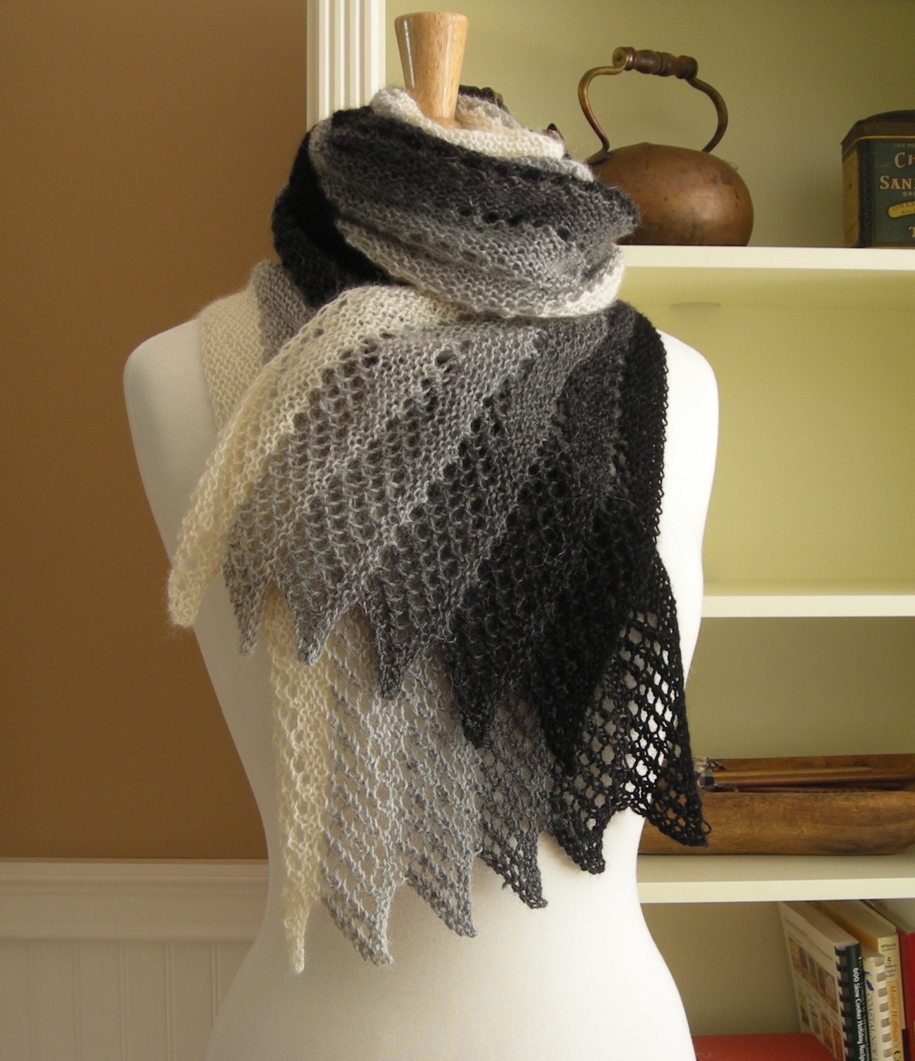 French Knitting Patterns : Lace Scarf Knitting Pattern PDF Mistral Scarf French