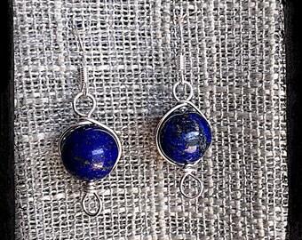 Sterling Silver Handwrapped Lapis Earrings