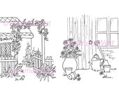 Victorian Cottage and Garden shed, 2 Digistamps Instant download. Digital stamps. colouring pages