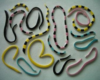 Pxx - UNUSUAL Black, Yellow, Pink, Turquoise STRAWS -  Ceramic Mosaic Tiles Set