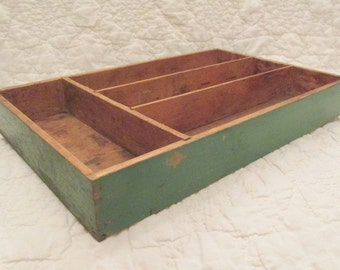 Vintage Divided Wood Tray great for office or home dec storage green formally utensil tray