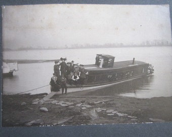 Antique Large Cabinet Card Real Dated 1904 Photo Of Identified Family on Mississippi River Boat