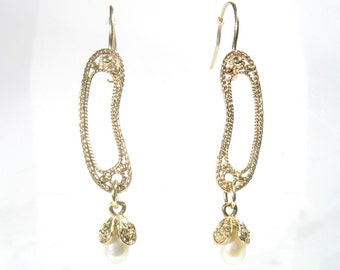 Solid yellow Gold filigree bean shaped with dangling gold flower with pearl. Bridal, wedding, birthday gift, mother's day gift, lightweight.