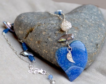 Heart Silver Necklace - YOU ARE LOVED. Blue Crab Agate - Keishi Biwa Pearls. Heart Pendant. Valentine's Day Gift.