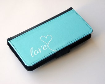 Custom Wallet Phone Case, iPhone Wallet Case, iPhone 6 Wallet Phone Case, iPhone 6s Wallet Phone Case, iPhone 5 Wallet Phone Case, Mint Love