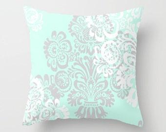 Mint Green Lumbar Pillow, Throw Accent Pillows Outdoor, Mint Green Decor, Damask Pillow