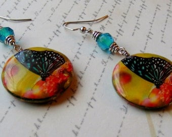 Blue Butterfly Earrings with Yellow- decoupage and glass, 2 3/4 inches or 7 cm