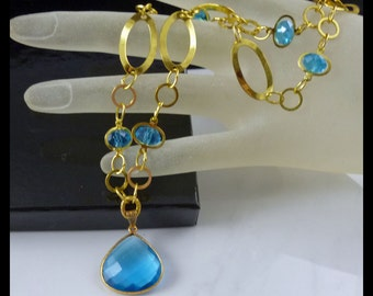 London Blue Bezel Set Topaz 22k Gold Vermeil Pendant and Gold Plated Necklace - free U.S. shipping
