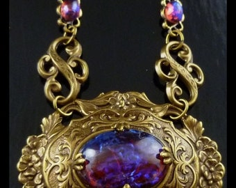 Vintage Art Decco Style Dragon's Breath Opal Brass Choker Necklace and Earrings - FREE U.S. SHIPPING