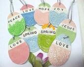 Easter Egg Ornament, Handmade Pottery Egg Shape Ornaments, Inspirational Words Spring, Love, Joy, Peace, Jesus, Hope, Assorted Designs