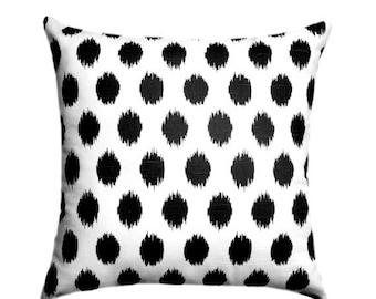 Black and White Pillow, Black Throw Pillow, Black White STUFFED Pillow, Black Polka Dot Pillow, Jojo Black Accent Pillow - Free Ship