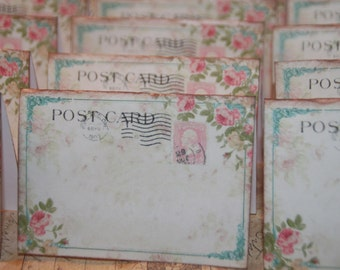 Wedding Place Cards, 100 Vintage Post Cards Placecards,  Escort Cards, Tent Table Place Cards, Wedding Placecards, Shabby Pink Roses