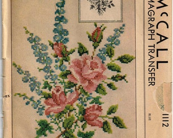 Kaumagraph Iron On Transfer McCalls 1112 Roses and Delphiniums Cross Stitch Vintage 1940s Pattern Floral Spray