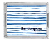 Personalized Lucite Tray - Watercolor Stripes Collection