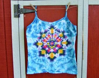 Women's 2XL Spaghetti Strap Tie Dye Tank Top - Lotus Blossom Mandala - Ready to Ship
