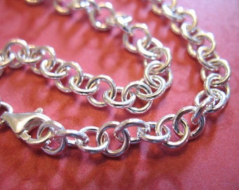 """1 pc, 925 Sterling Silver Chain, Finished Necklace or Bracelet, Rolo Cable, 5 mm, 6 6.5 7 7.5 8"""" or 16 17 18 20 22 24 30 32 36 """", b100 done"""