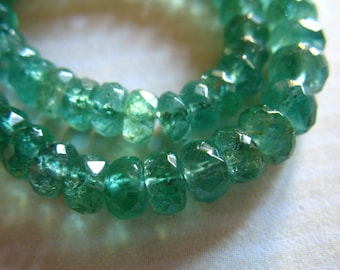 Shop Sale.. 5 10 25 pcs, EMERALD Rondelles, Luxe AAA, 3-3.5 mm, Vibrant Green, Faceted Emerald Beads, May birthstone true 35