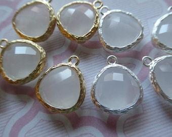 2 5 10 pcs, Glass Charm Pendants, PEARL ICE White, 16x13 mm Gold Plated Brass Bezel Stone, bridal bride wedding jewelry supply diy GP1.PI ll