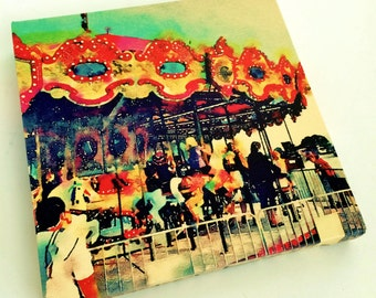 Merry Go Round Carousel Art - Carousel Photography - Carousel Horse Art - Vintage Carnival Nursery Decor - Canvas Art Print -Digital Art 8x8