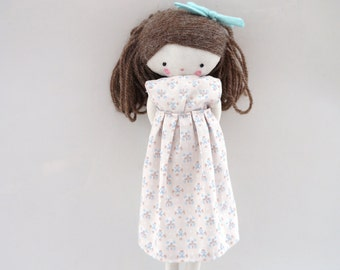 Handmade rag doll , Martha - ooak cloth art rag doll flower dress, bow and socks toy for girls