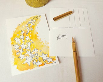 stars christmas postcards handpainted holiday cards set of 2