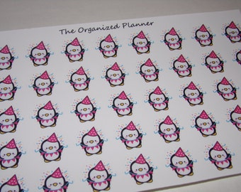 Pearl the Penguin Birthday Stickers for your Erin Condren Life Planner