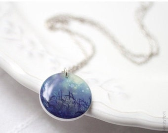 Misty Nature necklace - Navy blue jewelry (N048)