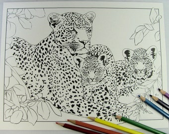 Karula Xongile Hosana Leopard cat and baby cubs Printable Download Adult Coloring Page by Carrie Michael DTPD