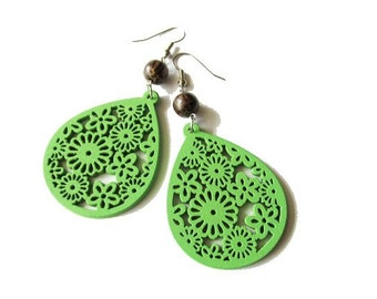 Apple Green Floral Wooden Earrings with Brown Palm Wood Beads . Hippie Boho