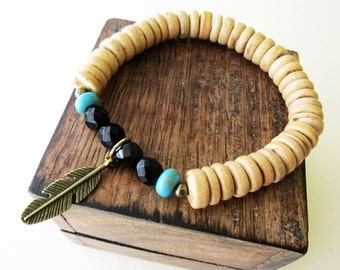 Men's or Unisex Wooden Bracelet , Natural Palm Wood  with Feather Charm