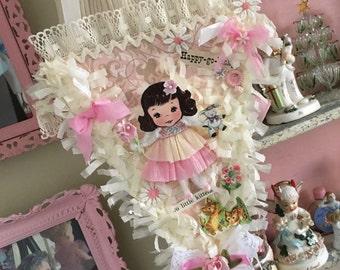 Vintage Style Pink Whimsical Sweet Keepsake Banner by Saturdayfinds